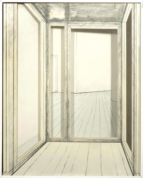 CHRISTO, JAWACHEFF Project. Corridor store front. 1968. Graphite pencil, charcoal and pencil on board. In two parts. Signed and dated on the inner drawing: Christo 1968. Pleasing condition. In Plexiglass box.