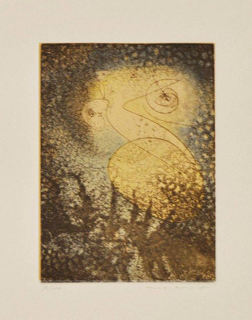 ERNST, MAX Untitled. 1965. Etching and aquatint 33 / 100. Signed lower right: Max Ernst. Plate 20 x 13.7 cm on Arches paper. Catalogue raisonné: Spies Leppien No 107.