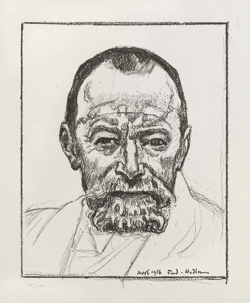 HODLER, FERDINAND (Bern 1853 - 1918 Geneva) Self portrait. 1916. Lithograph  118/200. Signed lower right: Ferd. Hodler. Dated and signed in print: Avril 1916 Ferd. Hodler. Image 35.5 x 27.5 cm on P.M. Fabriano wove paper 62 x 48 cm.