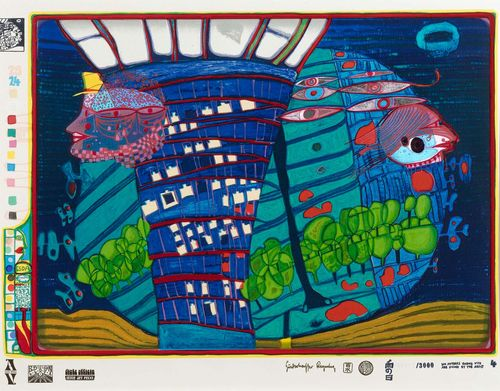 "HUNDERTWASSER, FRIEDENSREICH (Vienna 1928 - 2000 Cruise liner Queen Elizabeth II) Flucht ins All. 1971/1972. Sheet four from the portfolio ""Look at it on a rainy day"". Silkscreen und embossed metal 85/3000. Signed, dated, entitled, inscribed and work number ""650A"" in print. With ""Hundertwasser Regentag"" embossed stamp and three Japanese embossed stamps. Image 41.5 x 59.2 cm on board with Schoeller Stern embossed stamp, 49.5 x 67 cm. Printed by Dietz Offizin, Lengmoos/Bayern. Published by Ars Viva, Zurich 1971/1972. With embossed stamp of printer and publisher. Fine condition. Catalogue raisonné: Koschatzky No.47 and Fürst HWG 47."