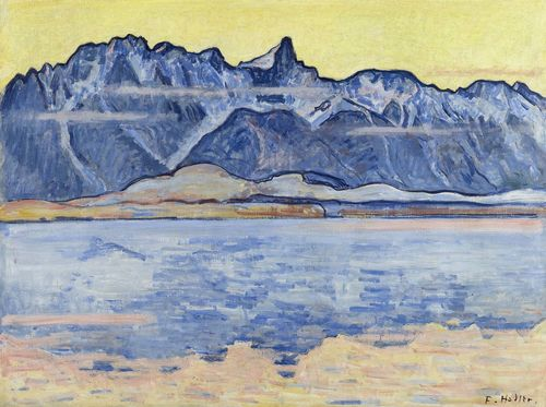 HODLER, FERDINAND (Bern 1853 - 1918 Geneva) Thunersee with the Stockhorn chain. Circa 1913. Oil on canvas. Signed lower right: F. Hodler. 62.5 x 85.5 cm. Provenance: private collection  Switzerland. Bätschmann, O. und Müller, P: Hodler, Catalogue raisonné der Gemälde, vol. 1, Die Landschaften, Teilbd. 2, Zurich, SIK, 2008, p. 393, WV No. 486, with ill.