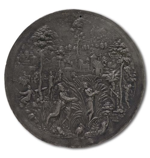 RENAISSANCE LEAD PLAQUE, after P. VAN VIANEN (Paulus van Vianen, Utrecht 1570-1613 Prague), Nuremberg, end of 16th century. Pan pursuing Syrinx. D 17.2 cm. Lit.: R. Verres, Die Plaketten des Paulus van Vianen, in Pantheon, 1928; p. 299 and in: H. Helbing, Die Plakettensammlung von Walcher von Molthein, Auktionskatalog, Munich 1926, p. 27.