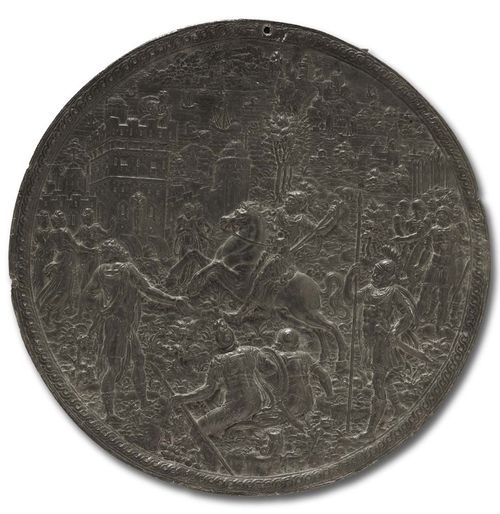 RENAISSANCE LEAD PLAQUE, monogr. HG (Hans II Jamnitzer, Master 1563) and dated 1569, Nuremberg. King Minos on horseback in figural scene, with castle and sea with ships.  D 18 cm. Lit.: H. Helbing, Die Plakettensammlung Walcher von Molthein, Auktionskatalog, Munich 1926; p. 25. K. Pechstein, Plaketten, in Wenzel Jamnitzer und die Nürnberger Goldschmiedekunst 1500-1700, Germanisches Nationalmuseum ,Nuremberg, 1985, p. 420f.