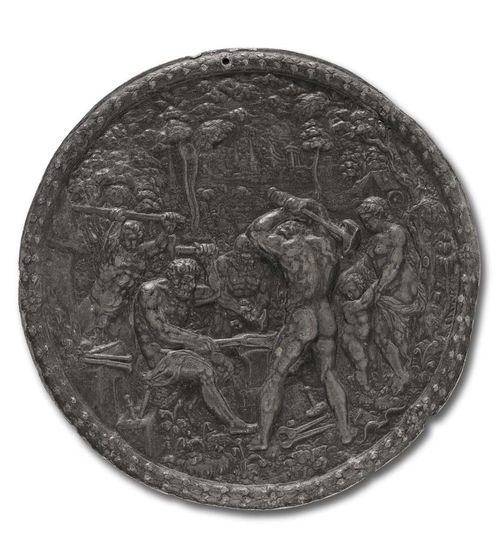 LEAD PLAQUE, Renaissance, after H. JAMNITZER (Hans II Jamnitzer, Master 1563), Nuremberg circa 1600. Vulcan, with Cupid and Venus. D 16.7 cm. Lit.: Katalog GMN, Wenzel Jamnitzer und die Nürnberger Goldschmiedekunst 1500-1700, 1985; No. 567.