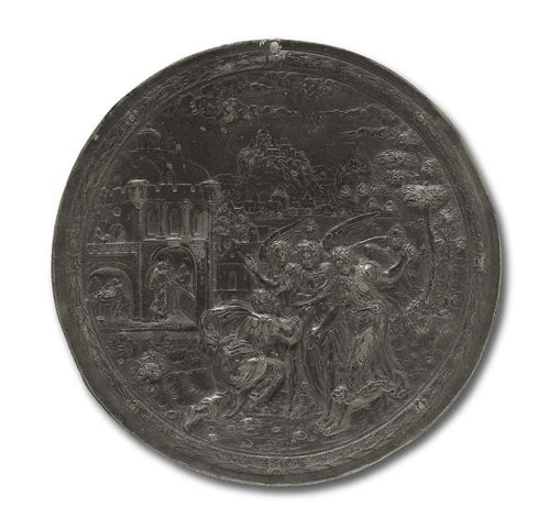LEAD PLAQUE, Renaissance, after H. GAR (Hans Gar, active circa 1560/80), Nuremberg circa 1570. Abraham greeting the 3 angels. D 15.2 cm. Lit.: H. Helbing, Die Plakettensammlung Walcher von Molthein, Auktionskatalog, Munich 1926; p. 26.