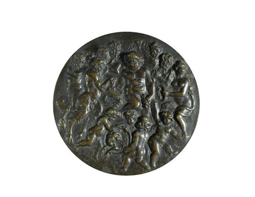BRONZE PLAQUE, Renaissance, Netherlands or Italy, in the style of the 16th century. Patinated bronze. Depicting Bacchus with satyrs, putti and Bacchantes. D 13.3 cm. Lit.: K. Pechstein, Bronzen and Plaketten, Berlin 1968; No. 266 and 267.