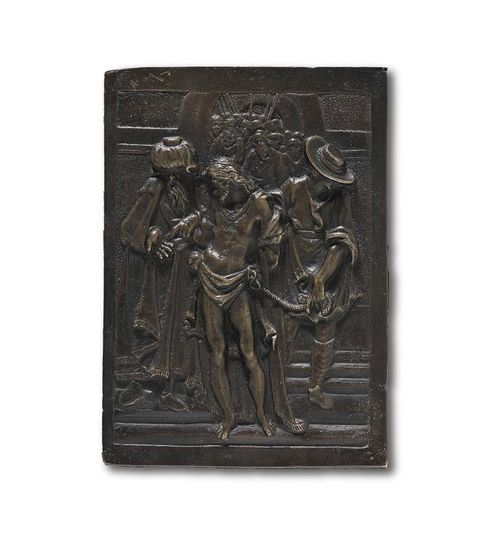 BRONZE PLAQUE, Renaissance, in the style of MODERNO (Pseudonym of a goldsmith active in Italy end of 15th/beginning of 16th century.), Venice, 16th century. Patinated bronze. Christ before the People: H 12.3 cm; W. 8.7 cm. Lit.: Rilievi e placchette dal XV al XVIII secolo, Catalogo della mostra a Roma, Museo di Palazzo Venezia, 1982; p. 88.
