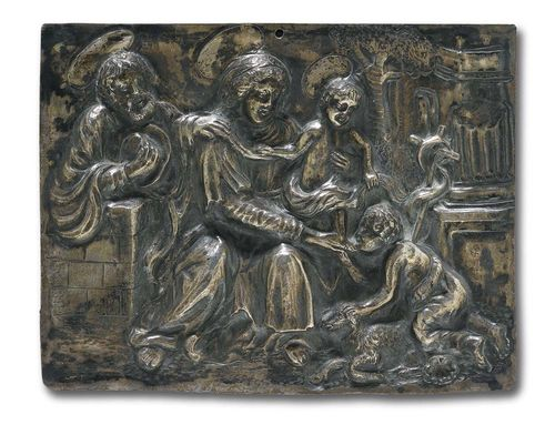 SILVER PLAQUE, Renaissance, Southern Italy, 1st half 17th century. Chased, embossed and engraved silver. Depicting The Holy Family with John. H 11 cm; W. 14.5 cm.