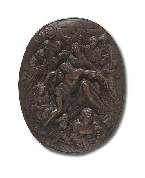 "BRONZE PLAQUE ""PIETA"", Renaissance, Italy, 16th century.. (?) Patinated bronze. The second of the three ""Pieta"";  H 16 cm; W. 12.5 cm. Lit.: E.F. Bange, Die italienischen Bronzen der Renaissance und des Baroque, Berlin 1922; p. 7. S.H. Kress, Collection of Renaissance Bronzes, p. 264."