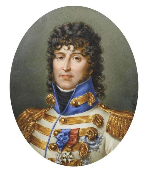 France, circa 1800. Signed Sophie Liénard. Oil on porcelain Depicting Joachim Murat (born 25. March 1767 in Labastide-Fortunière, today Labastide-Murat; died 13. October 1815 in Pizzo, Calabria). Brother in  law to Napoleon and later king of Naples.  14.5x11.7 cm. In oval gilt frame.