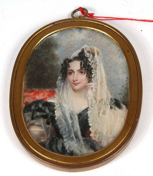 France circa 1820. Simon Jaques Rochard (1788-1872), attributed. Mixed media on ivory. Depicting a pretty young woman in low cut black dress. 10.7x8 cm. In metal ring. Small crack lower right. Ex Coll. Schidlof