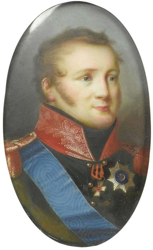 Russia circa 1815. Pietro de Rossi (1761-1831), court painter, attributed. Mixed media on ivory. Depicting Tsar Alexander I Pawlowitsch (1777-1825), in blue uniform with orders of St Andrew and St George.  6x3.6 cm. In narrow gold frame.