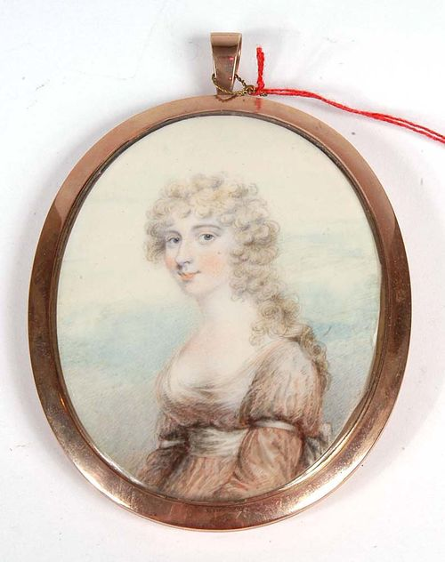 England circa 1792-95. John Downman (1750-1824) attributed. Mixed media on ivory. Depicting Sarah Hussey Delaval, wife of George 2nd Earl of Tyrconnel.  8.9x6.9 cm. In gold ring.
