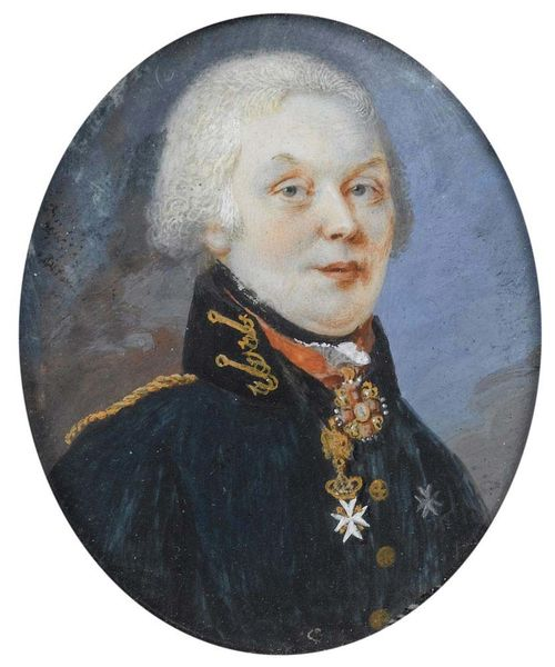 Russia. Circa 1790. Mixed media on ivory. Depicting Tsar Paul I (1754-1801).  5.5x4.5 cm. In narrow gold frame.