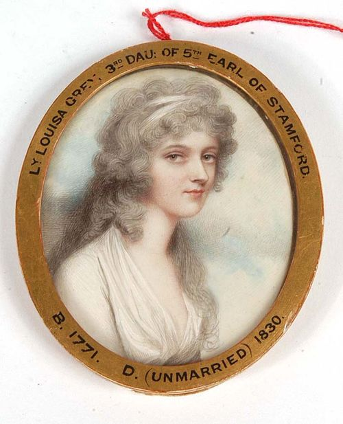 "England, circa 1790. Andrew Plimer (1763 Wellington 1837) , attributed. Mixed media on ivory. Depicting Louisa Grey (1771-1830) ""3rd Dau of 5TH Earl of Stamford "".  7.5x5.9 cm. In oval wooden frame."