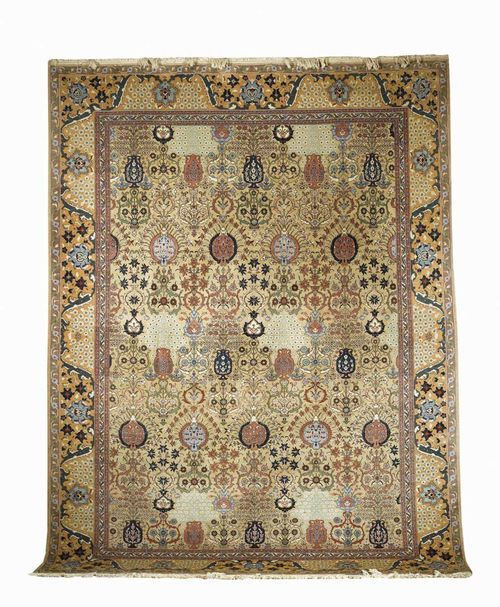 TABRIZ old. Beige central field, patterned with vases and floral motifs, yellow border. Good condition.  386x296 cm.