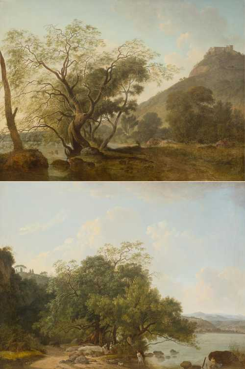 "SABLET, JEAN FRANCOIS (Morges 1745 - 1819 Nantes) Pair of paintings: two coastal landscapes. ""Le Romain"". Oil on canvas. 74.5 x 100 cm each. Bibliography: Les frères Sablet, Nantes, Lausanne und Rom, 1985, p. 69, no. 27 with ill. and p. 122, no. 102 with ill."