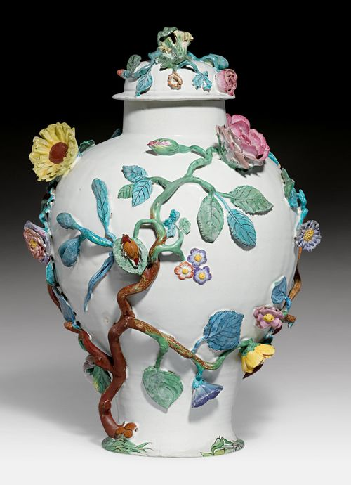 LIDDED VASE WITH APPLIED FLOWERS AND INSECTS,