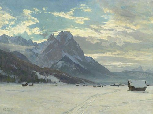 COMPTON, EDWARD HARRISON (1881 Feldafing 1960) Mountain landscape in winter. Oil on canvas. Signed lower left: E. HARRISON COMPTON. 71 x 95 cm.