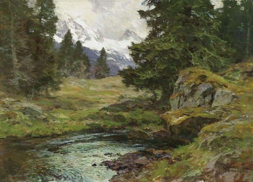COMPTON, EDWARD HARRISON (1881 Feldafing 1960) Mountain landscape with stream. Oil on canvas. Signed lower right: E. HARRISON COMPTON. 50,5 x 70,5 cm.