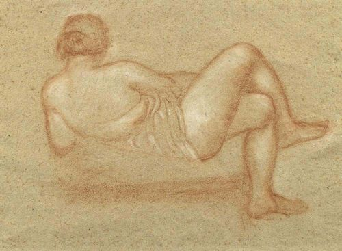 MAILLOL, ARISTIDE (1861 Banyuls-sur-Mer 1944) Study for the Paul Cézanne monument. 1912. Red chalk and crayon on wove paper. 28.5 x 37.5 cm. Expertise: Dina Vierny, 23.3.2006.