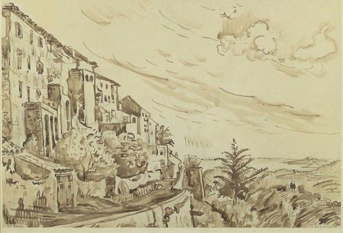 SIGNAC, PAUL (1863 Paris 1935) Saint-Paul-de-Vence. India ink wash. Lower left inscribed: St. Paul. Inscribed lower right: Signac. 35 x 52.3 cm. Verso label from Galerie Vallotton, Inv-No. 12671.