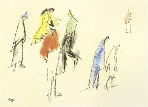 FEININGER, LYONEL (1871 New York 1956) Figures. India ink on paper. Signed lower left: Feininger. 42.5 x 53.5 cm