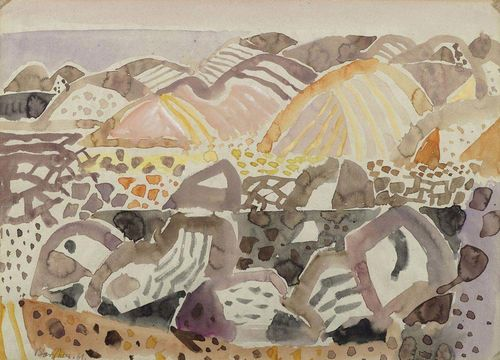 BARGHEER, EDUARD (1901 Hamburg 1979) Southern landscape. 1961. Watercolour on paper. Signed and dated lower left: Bargheer. 61. 32 x 44 cm. Provenance: - Kunsthaus Bodan, Constance. - Private collection Switzerland.