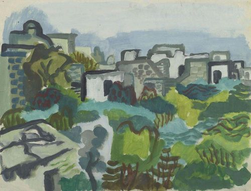 BARGHEER, EDUARD (1901 Hamburg 1979) Village view.  Houses and gardens. Verso: beach with boat. 1946. Oil on paper. Monogrammed lower left: Ba. 48 x 63 cm. Provenance: - Galerie Koller, Zurich. - Private collection, Switzerland .