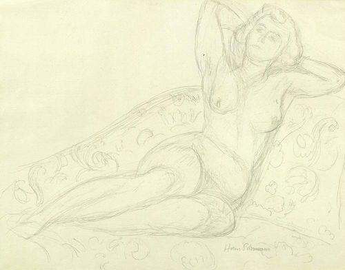 PURRMANN, HANS (Speyer 1880 - 1966 Basel) Female nude supporting herself. Pencil on chamois. Signed lower right: Hans Purrmann. 40 x 52.5 cm.