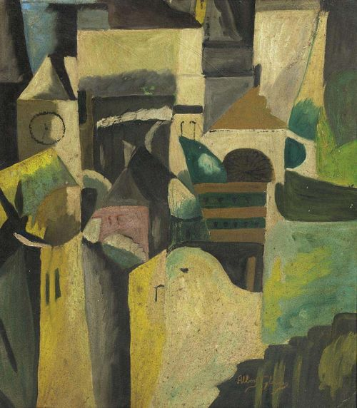 GLEIZES, ALBERT (Paris 1881 - 1953 Avignon) Composition with houses and church. Oil on board. Signed lower right: Albert Gleizes. 39.2 x 33 cm. Expertise: Anne Varichon, November 2002.