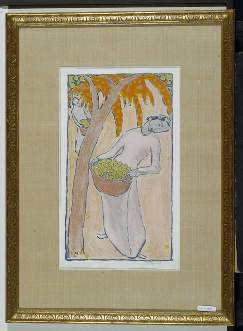 AMIET, CUNO (Solothurn 1868 - 1961 Oschwand) Ernte. 1914. (harvest) Lithograph, hand-coloured.  Signed lower right: C. Amiet. Also monogrammed and dated lower right in stone: CA 14. Image 36x20.5 on wove paper. Framed.