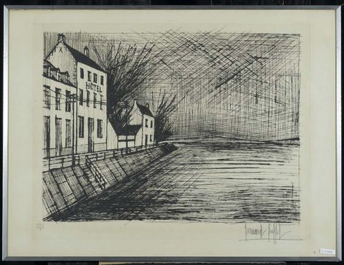 BUFFET, BERNARD (Paris 1928 - 1999 Tourtour) Hotel on the canal. Ca. 1964. Etching 24/75. Signed lower right: Bernard Buffet. Plate 49x64 on copper plate printing paper 56x76 cm. Framed.