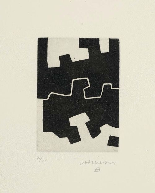 CHILIDA, EDUARDO (1924 San Sebastian 2002) Ulertu, 1973. Aquatint-etching 41/50. Signed lower right: Chillida. Plate 14x10 cm on BFK Rives 45x35.5 cm. Very attractive condition. Framed. Cat raisonné: Chillida Opus P II, No. 73018.