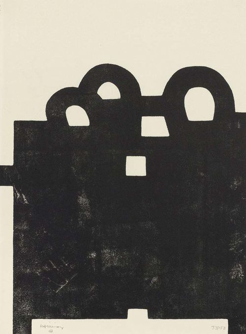 CHILLIDA, EDOUARDO Curutze Gorria II (red cross). 1984. Lithograph 33/150. Signed lower left: Chillida. Image bled off, 76x56.5 cm on slightly beige Vélin. Very attractive condition. Framed. Cat raisonné: Opus P. II, No. 84012