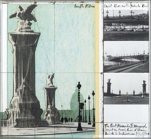 CHRISTO (Javacheff) (Gabroro 1935 - lives in  New York) The Pont Alexandre III, Wrapped. 1972. Project Paris. Fabric, collage and photo-lithograph AP 23/35. Signed lower right: Christo. Image bled off, 70x75 cm. Very attractive condition. In acrylic box frame 71x76x5.5 cm.