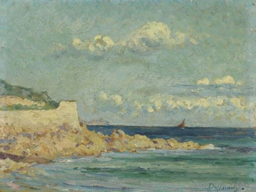 DEZAUNAY, EMILE ALFRED (1854 Nantes 1940) Rocks at sea. Oil on hardboard. Signed lower right: Dezaunay. 27,5 x 35 cm.