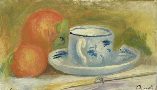 RENOIR, PIERRE AUGUSTE (Limoges 1841 - 1919 Cagnes) Tasse et oranges. Oil on canvas. Signature stamp lower right: Renoir. 15 x 26 cm. Expertise: Wildenstein Institute, Paris, 27. Feb2006. Provenance: - Paul Guillaume collection. - Maler Werner Feuz. - W. E. Schucany, 1935. - By inheritance to the present Swiss private collection.
