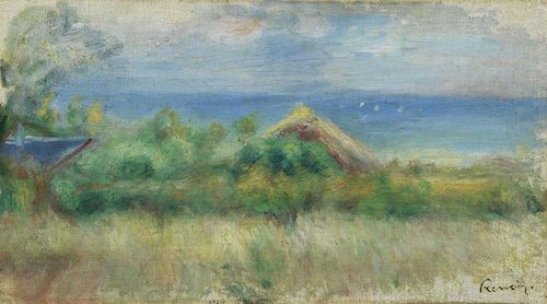 RENOIR, PIERRE AUGUSTE (Limoges 1841 - 1919 Cagnes) Paysage avec fond de mer. Oil on canvas. Signature stamp lower right: Renoir. 22.5 x 38.2 cm. Expertise: Wildenstein Institute, Paris, 27. Feb 2006. Provenance: - Swiss private collection, purchased in Paris. - Galerie Aktuaryus, Zürich. - Felix-Louis Calonder collection (Bundesrat 1913-1920), 1944. - Swiss Private collection.