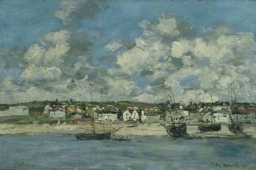 BOUDIN, EUGENE (Honfleur 1824 - 1898 Deauville) Strand von Portrieux. 1871-73. Oil on board. Signed lower right: E. Boudin. Lower left inscribed: Portrieux. 23.5 x 35.5 cm. Provenance: - Galerie Bernheim-Jeune, Paris. - M. Newman Ltd., London. - Swiss private collection. Literature: Schmit, Robert: Eugène Boudin, 1824 - 1898. Paris 1973, cat raisonné No. 729.