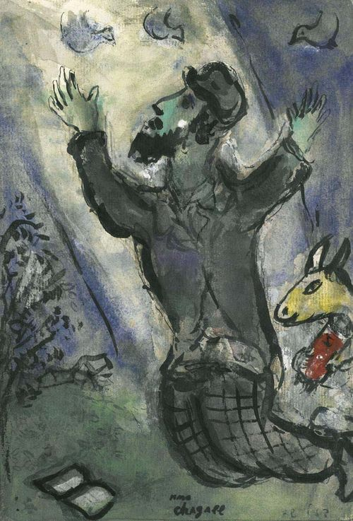 CHAGALL , MARC (Witebsk 1887 - 1985 Saint-Paul-de-Vence) La Prière. 1950. Watercolour and India ink on paper. Signed centre bottom: marc chagall. Inscribed lower right: Fl 583. 26 x 18 cm. Expertise: Comité Marc Chagall, Paris 2006. Provenance: - Galerie Daniel Malingue Geneva, Inv No. D1724, IA41. - Swiss private collection.