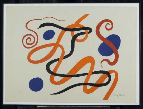 CALDER, ALEXANDRE Untitled. Lithograph H.C. Signed lower right: Calder. Image 52x58 cm on beige Vélin 56x77 cm. Attractive condition. Framed.