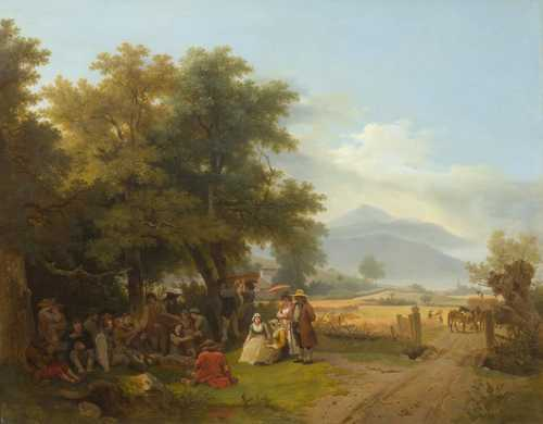 TÖPFFER, WOLFGANG ADAM (Geneva 1766 - 1847 Morillon) Collation campagnarde. 1805. Oil on canvas. Signed, dated and inscribed lower left on the stone: ATöpffer fec. 1805. Genève. 69 x 88.3 cm. Provenance: - Private collection, Geneva. - collection of the Aubert family, Geneva. - collection of Max Moos (1926). - Galerie Max Moos, Geneva, No. 2889 (label verso). - collection of Jacques Salmanowitz, Versoix since 1935. - collection of Harry Salmanowitz, Laconnex. - important private collection, West Switzerland. Exhibited: - Zurich 1939, Zeichnen, Malen, Formen I, Kunsthaus, Schweizer Landesausstellung, No. 526 - Geneva Musée d'Art et d'Histoire, No. 13. (label verso). Literature: - Exh. cat. Galerie Moos, Geneva 1935. - Gielly, Louis: L'école de peinture genevoise, Geneva 1935, p. 216. - Huggler, Max und Cetto, Anna Maria: La peinture suisse au 19ème siècle, Basel 1943, p. 40. - Gantner, Joseph and Reinle, Adolf: Kunstgeschichte der Schweiz, vol. IV., p. 156. - Boissonnas, Lucien: Wolfgang-Adam Töpffer (1766-1847) - catalogue raisonné des peintures, Bern 2011, p. 155, No. LBP 59 (with ill.).