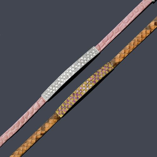 DIAMOND / AMETHYST AND GOLD BRACELETS, OROMALIA. White and yellow gold. 750. Cuoio model. Decorative, sober bracelet with a rectangular convex middle part, set throughout with 26 brilliant-cut diamonds weighing ca. 0.50 ct. Pink leather band with gold clasp. Matching bracelet in yellow gold, the middle part set throughout with amethysts and with a beige-brown leather band. L ca. 18 cm.
