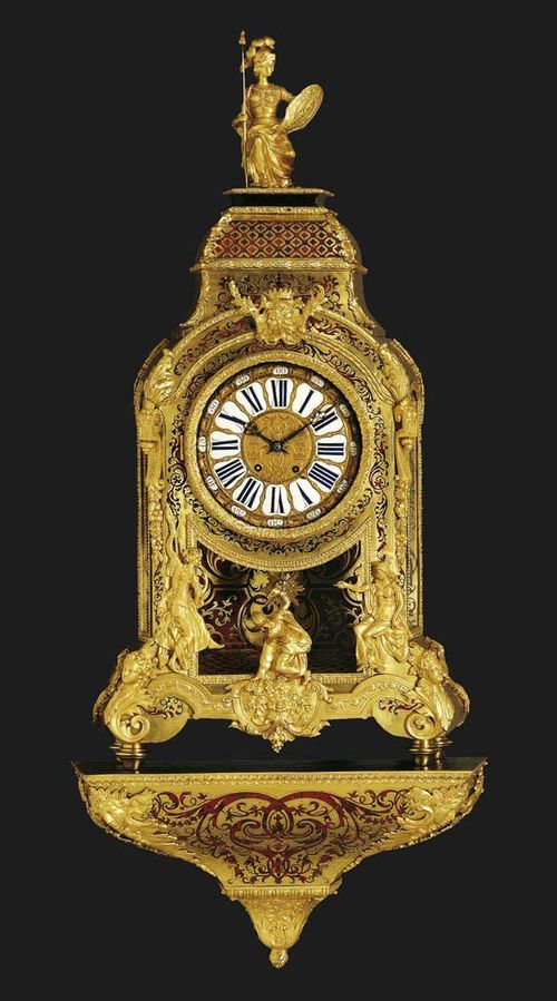 "IMPORTANT BOULLE CLOCK WITH PLINTH, late Regence, Paris, 19th century. Red tortoiseshell, richly inlaid with brass fillets in ""premiere-partie"" and ""contre-partie"", and with scrolls, cartouches and decorative frieze. The bronze dial with 24 enamel plaques for the minutes in Arabic numerals and the hours in Roman numerals. Fine brass movement with anchor escapement striking the 1/2-hour on bell. Exquisite bronze mounts and applications. 60x28x146 cm. - The clock is in very good condition."