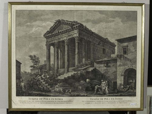 CUNEGO, DOMENICO (Verona 1727-1794 Rome).Temple of Pola in Istria/ Temple de Pola en Istrie. Etching after Charles-Louis Clerisseau. Rome, circa 1760. 46.5 x 60 cm (Plate). Framed. – Somewhat foxed. Strong impression.