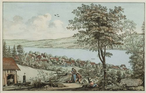 ASCHMANN, JOHANN JAKOB (1747 Thalwil 1809).Prospect v. Rüschlikon am Zürichsee n. d. Natur No. 7 J.Aschmann fec. Circa 1800. Etching with original colour, 18.5 x 29.5 cm. Gold frame. - Fresh colour, in very good condition