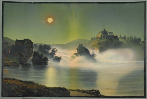 Attributed to BLEULER, JOHANN LUDWIG (Feuerthalen 1792 - 1850 Laufen),Der Rheinfall von Schaffhausen bei Nacht. (Schaffhausen falls by night) Gouache, 33 x 48 cm. Outer line in black pen, with grey gouached margin. Old inscription verso in pencil: by Lud. Bleuler, W. S. Sterling Stradford. - some discolouration of the central fold and some small areas of foxing, mostly in the margins. Overall still good condition.