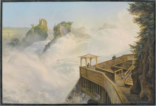 Attributed to BLEULER, JOHANN LUDWIG (Feuerthalen 1792 - 1850 Laufen), Der Rheinfall von Schaffhausen bei Tag. (Schaffhausen falls by day) Gouache, 33 x 48 cm. Outer line in black pen, with grey gouached border. Verso old inscription in pencil : W.S.Stirling Strawford by Lus. Bleuler. Rhin falls. - Minor discolouration of the central fold, some minor foxing. Overall in good condition.