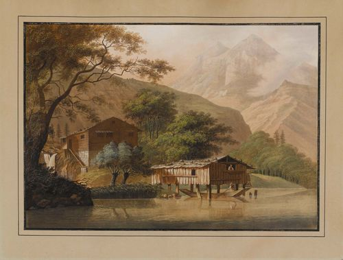 Attributed to BLEULER, JOHANN LUDWIG (Feuerthalen 1792 - 1850 Laufen).Fishing huts at Lake Brienz. Etching with original colour. 39.5 x 55 cm. Outer line in black pen.